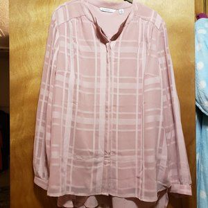 Baby Pink Plaid Double Layered Long Sleeve Blouse